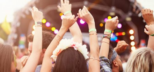 Audience with hands in the air at a Florida Panhandle Festival