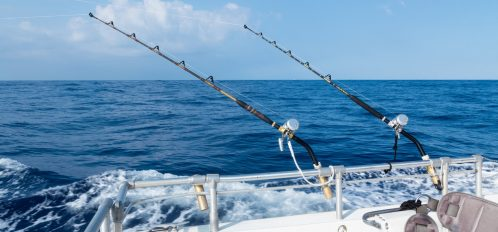 Deep sea fishing in Sandestin, FL, in the ocean on a sunny blue sky day with fluffy clouds.