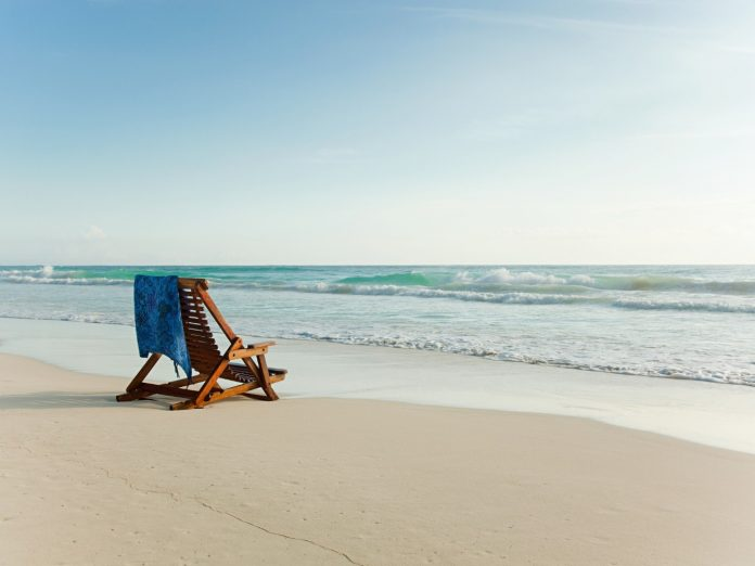 Beach chair on a lonesome beach in 30A