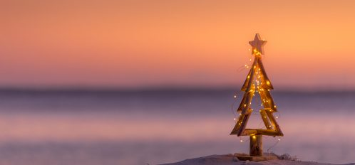 Christmas tree on the beach at sunset | Holidays on 30A